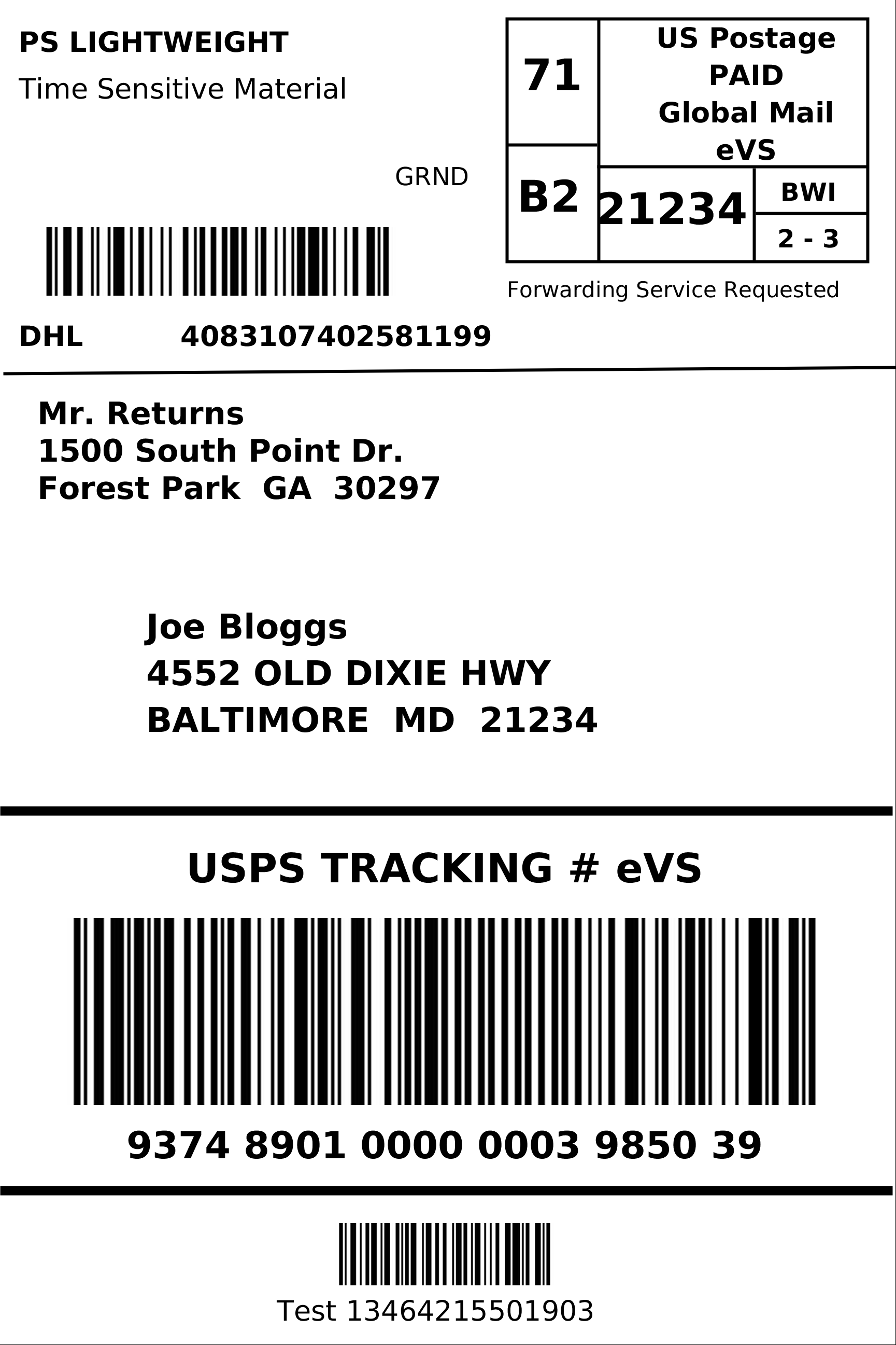 Shipping Label Example Kleobeachfixco - Post it labels templates